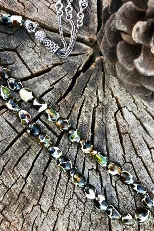 Yeşil Parça Kehribar Gümüş